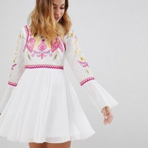Frock and Frill Petite Embroidery Top Pleated Mini